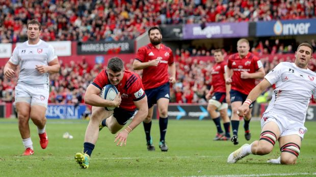 Munster's Sam Arnold scores his side's fourth try during the Heineken Champions Cup game at Thomond Park. Photograph: Dan Sheridan/Inpho