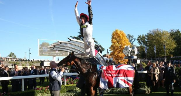 59558b85bddcf5 Frankie Dettori jumps off Cracksman after winning the Qipco Champion Stakes  Race at Ascot. Photograph