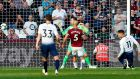 Tottenham Hotspur's Erik Lamela heads home the opening goal in the  Premier League  match against West Ham  at the London Stadium. Photograph: Ian Kington/AFP/Getty Images