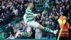 Celtic's Tom Rogic celebrates scoring his side's first goal  during the Ladbrokes Scottish Premiership match against Hibernian at Celtic Park. Photograph:  Robert Perry/PA Wire