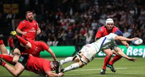 Racing 92's Wenceslas Lauret scores his side's second try  in the Heineken Champions Cup match at  Paris La Defense Arena. Photograph: Billy Stickland/Inpho