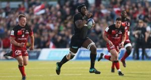 Saracens' Maro Itoje his side's first  try during the Heineken  Champions Cup game against Lyon at Allianz Park. Photograph:  Steven Paston/PA Wire