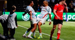 Racing 92's Teddy Thomas and Simon Zebo celebrate a try. Photograph: Getty Images