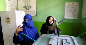 Afghan women cast their votes during parliamentary elections at a polling station in Kabul, Afghanistan October 20th, 2018. Photograph: Mohammad Ismail/Reuters