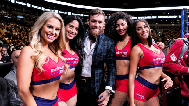UFC fighter Conor McGregor with the ring girls prior to the fight in Boston. Photograph: Emily Harney/Inpho