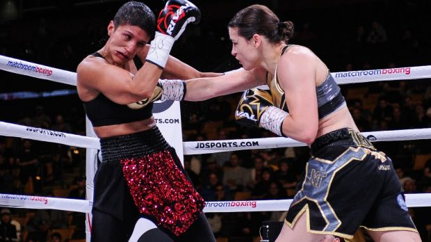 Katie Taylor lands another blow on Cindy Serrano during the fight in Boston. Photograph: Emily Harney/Inpho