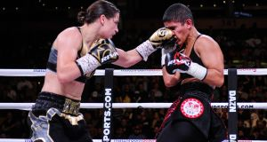 Katie Taylor in action against Cindy Serrano. Photograph: Emily Harney/Inpho