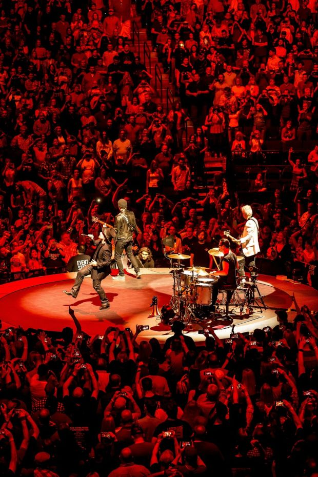 Experience + Innocence: U2 kick off their 2018 tour in Tulsa. Photograph: Shane Bevel/New York Times