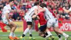 Danny Cipriani's shoulder makes contact with Rory Scannell's face, leading to a red card for the Gloucester player at Thomond Park. Photograph:  Brian Lawless/PA Wire