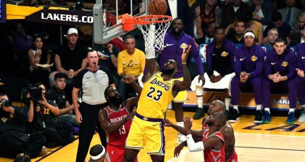 08c134cbde3 LeBron James scores a basket on his Lakers home debut. Photograph  Kevork  Djansezian
