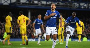 Dominic Calvert-Lewin of Everton celebrates after scoring his team's first goal during the Premier League win over Crystal Palace at Goodison Park. Photo: Michael Regan/Getty Images