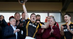 Ballyea's Tony Kelly after winning the Clare senior hurling title. Photograph: Bryan Keane/Inpho