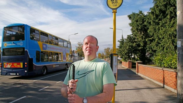 "Blind man Tony Murray on Collins Avenue: ""I think that is a failing on the part of the NTA, for not considering users of all needs and disabilities."" Photograph: Nick Bradshaw"