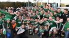 Gaoith Dobhair's players celebrate with the cup. Photograph: Andrew Paton/Inpho