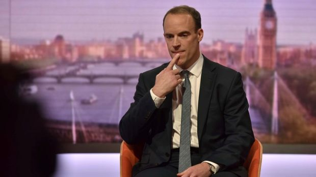 "Britain's Brexit minister Dominic Raab: EU's backstop proposals ""unacceptable""."