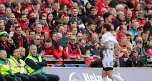 Gloucester's Danny Cipriani leaves the field after receiving a red card against Munster. Photograph: Laszlo Geczo/Inpho