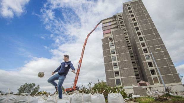 Philly McMahon in Ballymun before the felling of the last block, Joseph Plunkett tower, in 2015. Photograph: Brenda Fitzsimons