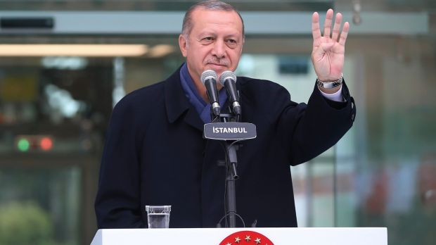 Turkish president Recep Tayyip Erdoganappears to suggest he will announce details of the Turkish investigation into the death of Jamal Khashoggi's on Tuesday. Photograph: Presidential Press Service/AP