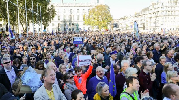 Some of an estimated 700,000 strong protest during the People's Vote March on Saturday, which called for a vote on the final Brexit deal. Photograph: EPA