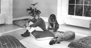 Author JP Donleavy at home with his two dogs in 1971. Photograph: Dermot Barry