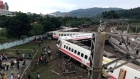 Drone footage captures aftermath of Taiwan train derailment