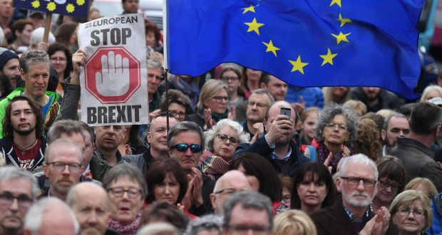 Protesters participate in an anti-Brexit demonstration in central Belfast. File photograph: Clodagh Kilcoyne/Reuters