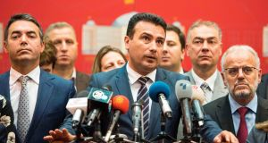 Macedonian prime minister Zoran Zaev said his government wanted to work with the opposition to prepare the necessary constitutional amendments within 15 days to change the country's name. Photograph: Robert Atanasovski/AFP/Getty Images