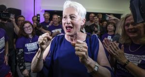 Independent candidate Kerryn Phelps arrives victorious at the North Bondi Surf Lifesaving Club  in Sydney, Australia. Photograph: Cole Bennetts/Getty Images
