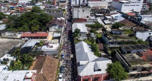 Honduran migrants heading in a caravan to the US, in Tapachula, Chiapas state, Mexico. Photograph: Pedro Pardo/AFP/Getty Images