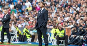 Real Madrid manager Julen Lopetegui watches his side lose to Levante at the Bernabeu on Saturday. Photo: Rodrigo Jimenez/EPA