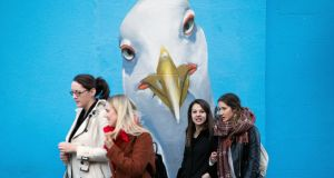BEADY EYES: A mural of a seagull painted on a wall on Baggot Street, Dublin. Photograph: Tom Honan/The Irish Times