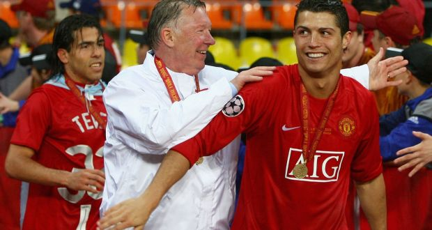 3e581e6418f Ronaldo with Alex Ferguson after winning the Champions League in Moscow in  2008. Photo: