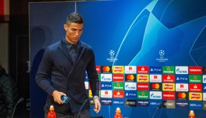 Juventus' Cristiano Ronaldo attends a press conference at Old Trafford ahead of the Champions League clash with Manchester United. Photo: Peter Powell/EPA