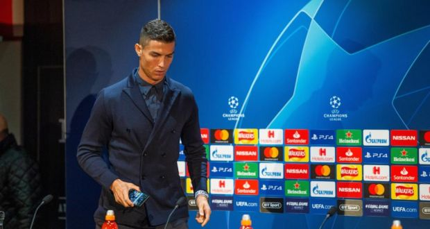 231701b9439 Juventus  Cristiano Ronaldo attends a press conference at Old Trafford  ahead of the Champions League