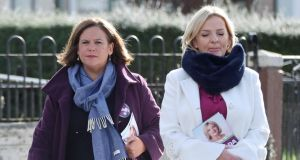 Sinn Féin leader Mary Lou McDonald and the party's presidential candidate Liadh Ni Riada canvassing in Dublin. Photograph: Niall Carson/PA Wire