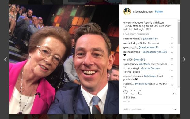Instagram: Eileen Style Queen with Ryan Tubridy on The Late Late Show
