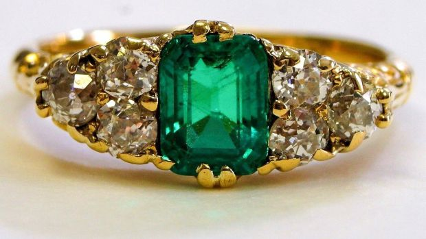 Emerald and diamond ring, €8,500 from Danker