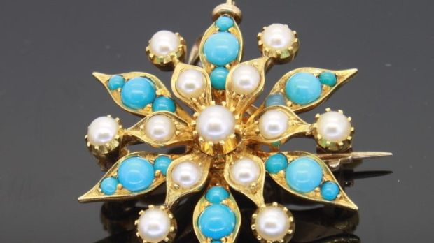 A Victorian pearl and turquoise six-pointed star, which can be worn as a pendant or a brooch, is €950
