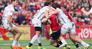 Gloucester's Danny Cipriani was sent off for this tackle on  Munster's Rory Scannell during the  Heineken  Champions Cup match at Thomond Park. Photograph: Brian Lawless/PA Wire