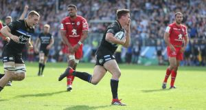 Bath's Freddie Burns runs behind the posts but fails to ground the ball to score during the European Champions Cup match against Toulouse at the Recreation Ground. Photograph:  David Davies/PA Wire