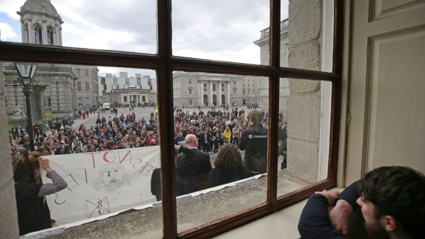 "Students protest in TCD during the ""Take Back Trinity"" protests earlier this year. Photograph: Nick Bradshaw"