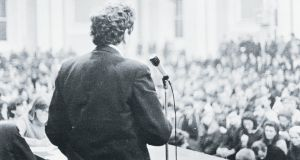 "Garret Fitzgerald addresses students at UCD's Earlsfort Terrace campus during the ""gentle revolution"" in 1968/69. Photograph: The Irish Times"