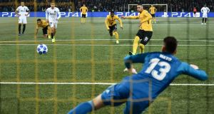 Young Boys' Guillaume Hoarau scores from the penalty spot against Valencia, the club's first Champions League goal. Photograph:  Fabrice Coffrini/AFP/Getty Images