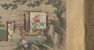 A section of 'Song of Lasting Sorrow', two 10m painted handscrolls by the Japanese painter Kano Sansetsu