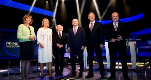 Presidential candidates Senator Joan Freeman, MEP Liadh Ní Riada, President Michael D Higgins, Seán Gallagher, Peter Casey and Gavin Duffy ahead of the debate on RTÉ's 'Prime Time'. Photograph: Tom Honan for The Irish Times