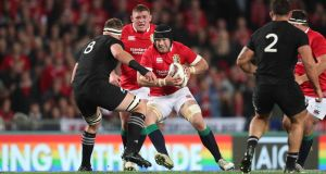 Sean O'Brien carries during the third Test of the 2017 Lions tour to new Zealand. Photograph: Billy Stickland/Inpho