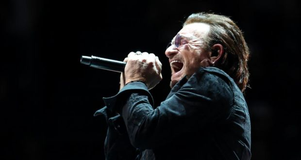 Experience + Innocence: Bono at U2's London show on Tuesday. Photograph: Simone Joyner/Getty