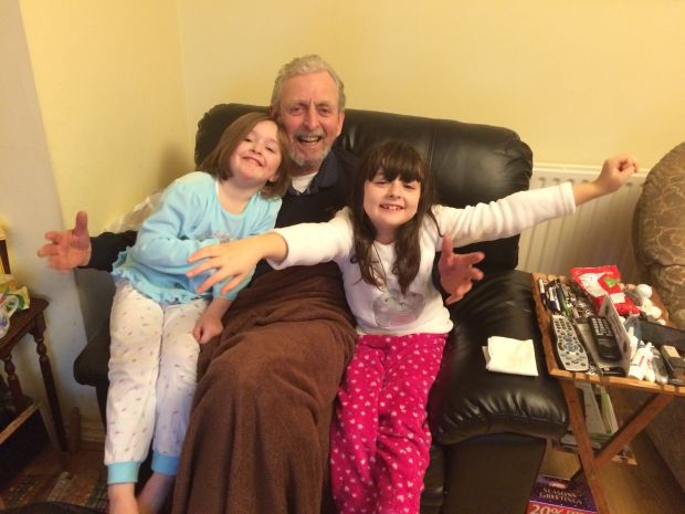 Séamus McDonagh with his granddaughters Kiana and Lucy in 2016.