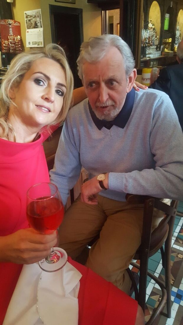 Seamus McDonagh on his granddaughter Lucy's communion Day in May, 2016, with his daughter Michelle.