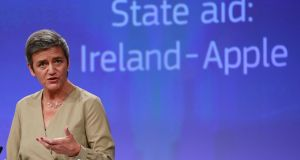 European commissioner Margrethe Vestager, who ordered Dublin to collect €13bn in back taxes from Apple. The decision intensified the need for an open debate on how we tax multinationals. Photograph: Olivier Hoslet/EPA